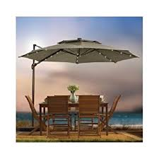 patio ft cantilever umbrella: outdoor patio cantilever umbrella  foot round canopy with solor powered lights includes base and storage