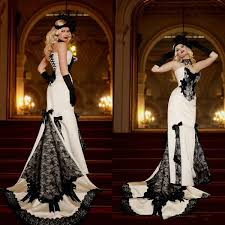 <b>Vintage Victorian Black</b> And White Mermaid Prom Dresses <b>Lace</b> ...