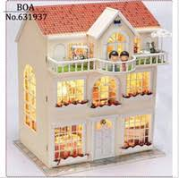 wholesale diy doll house dream fairy model building 3d miniature handmade wooden dollhouse with furniture and light toy christmas gift cheap wooden dollhouse furniture