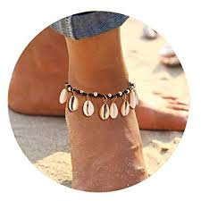 CEALXHENY Shell Anklets for Girls Natural Cowrie ... - Amazon.com