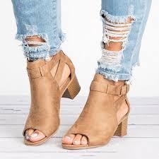 2019 Women Thick Heel Pumps <b>Sexy Style Women</b> Peep Toe ...
