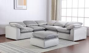 Velvet <b>Modular</b> Grey <b>5</b>-<b>Piece</b> Sectional Sofa | The Dump Luxe ...