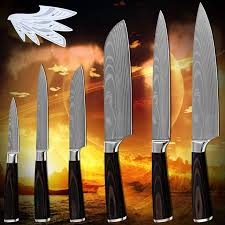 Hot products six-piece set kitchen <b>knives</b> laser <b>Damascus</b> pattern ...