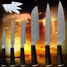 Hot products six-piece set kitchen knives laser Damascus pattern ...