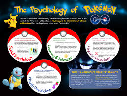 the psychology of pokemon go psychology outreach i created this poster in microsoft publisher most of the psychology concepts being topics we cover in our psyc111 psyc112 laboratory programmes