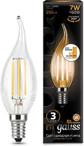 <b>Лампа Gauss</b> LED Filament Свеча на ветру E14 7W 550lm 2700K ...