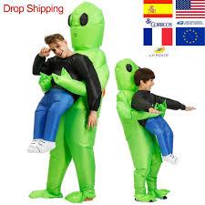 ET-<b>Alien Inflatable Mascot Costume Scary</b> Green <b>Alien Costume</b> For ...