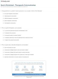 quiz worksheet therapeutic communication com print therapeutic communication definition goals types principles worksheet