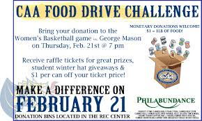 drexel univ women s basketball game vs george mason philabundance food drive info flyer