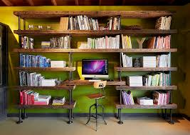 studio and office inspiration for a large contemporary home studio remodel in other with green walls antique mahogany large home office unit