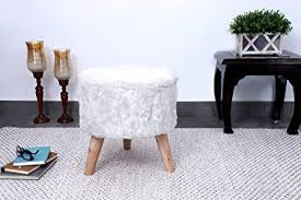 Fernish Decor <b>Faux Fur Round</b> Foot <b>Stool</b> Ottoman, 3 Wooden ice ...