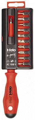 Набор бит С6,3х25 и <b>диэлектрическая отвёртка Felo</b> 02091206