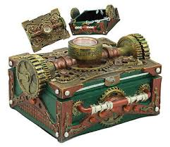 <b>steampunk</b> mining machinery hat jewelry box resin <b>antique vintage</b> ...