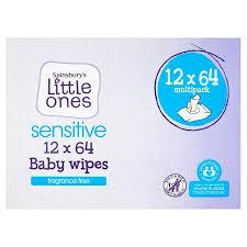 Sainsbury's Little Ones <b>Fragrance Free</b> 12 Packs 64 <b>Baby</b> Wipes ...