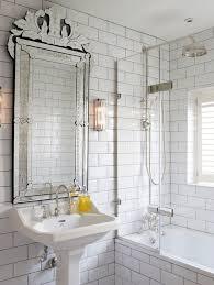 stick wall tile modern bathroom grey  unqiue vintage mirror