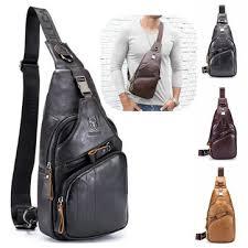 Bullcaptain genuine <b>leather</b> retro chest bag <b>outdoor leisure</b> daypack ...