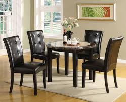 Round Marble Kitchen Table Sets Furniture Of America Tarka Black Finish Round Marble Dining Table