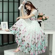 С летящей юбкой Платье - Цветочный принт, Многослойность ...
