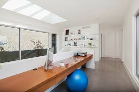 glass ball table lamp home office contemporary with concrete floor desktop exercise alcove contemporary home office