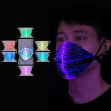 7 Color Lights <b>LED</b> Light Up Face <b>Mask</b> USB Rechargeable Glowing ...