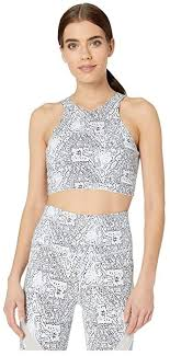 New Balance <b>Evolve Printed Halter</b> Crop (Moon Dust) Women's ...
