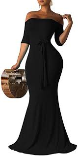 BEAGIMEG Women's Sexy Off Shoulder Backless ... - Amazon.com