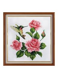 "<b>Набор для вышивания</b> ""Розы и колибри"", 28х28 см Гобелен ..."