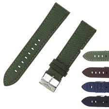 22mm Canvas & Cow Leather Watchbands <b>Genuine Leather</b> Watch ...