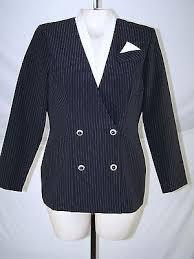 <b>ISB Black White</b> Pinstripe Long Sleeve Blazer Womens Size 10 ...
