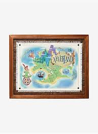 <b>Disney Peter Pan Never</b> Land Framed Map