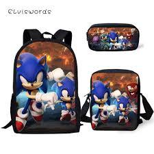 <b>ELVISWORDS Fashion</b> 3PCs Set <b>Children's</b> Backpack Sonic The ...