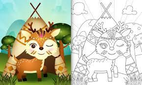 Premium Vector | Coloring book for kids with a cute tribal <b>boho deer</b> ...