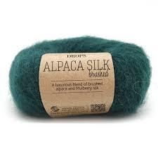 <b>Пряжа DROPS Brushed</b> Alpaca Silk Цвет.11 Forest green/зел.лес ...