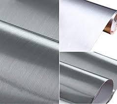 Brushed Metal Look Contact Paper Film Vinyl <b>Self Adhesive</b> ...