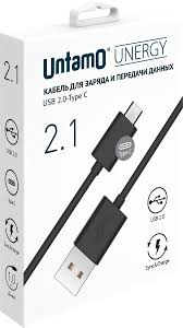 Untamo UUNCABTYPEC2.0BL, Black кабель <b>USB</b> -Type C (1 м ...