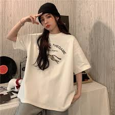 <b>Cotton</b> T-shirt <b>women</b> loose <b>Korean</b> print <b>white</b> short-sleeved bottom ...