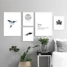 <b>Scandinavian Sea</b> Bird Feather Leaf Canvas <b>Painting</b> Landscape ...