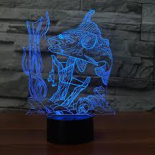 <b>Creative</b> Fishing 3D Lamp USB led <b>night light</b> Remote Switch 7 ...