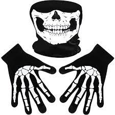1 White Skeleton Gloves and Skull Face Mask Ghost Bones for Adult ...
