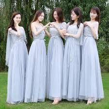 Women <b>Elegant Gray</b> Bridesmaid Dress Sister Wedding Gown ...
