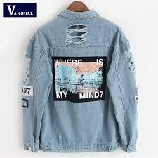 Vangull Women Frayed <b>Denim Bomber</b> Jacket Appliques Print Long ...