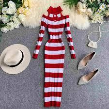 <b>NiceMix 2019 autumn</b> Knitted Sweater Dress Women Long Sleeve ...