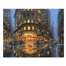 2019 <b>WEEN</b> Night <b>City</b> Street <b>DIY</b> Painting By Numbers Sea Canvas ...