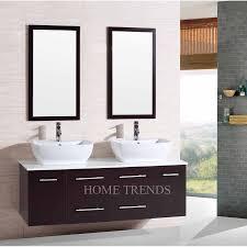 bathroom vanity 60 inch:  inch wall mounted double espresso wood bathroom vanity include white vessel sinks