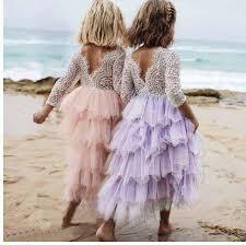 2019 <b>3 8Y Lace Cake</b> Tutu <b>Layered</b> Backless Girls Kids <b>Wedding</b> ...