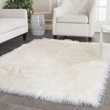sheepskin rug minimalist living room white