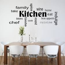 classy kitchen with wall quotes decals combined white wall paint also solid wood dining table and white metal chairs featuring chic candle holder ideas beautiful combination wood metal furniture
