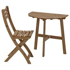 АСКХОЛЬМЕН <b>Стол</b>+1 <b>складной</b> стул, д/сада - серо-коричневая ...
