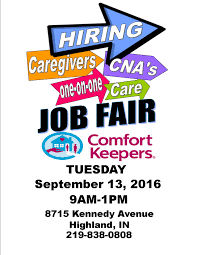 comfort keepers job fair seniors blue book if you are interested in working in health care we want to talk to you come check out our hiring event on sept 13th and learn more about what we do