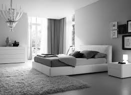 white custom low profile queen bed feat open shelving backside beds also dark fur rug in contemporary bedroom bedroom grey white bedroom